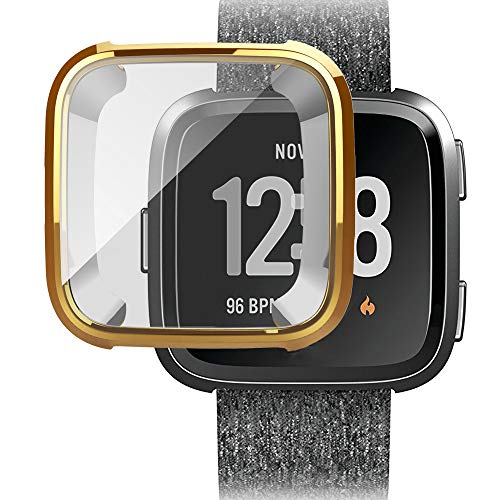 Ansenesna Watch Bands for Men for Fitbit Versa Screen Protector Case Full 360 Protection Gel Bumper Cover (Gold)
