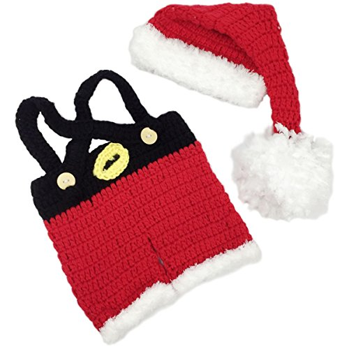 Jastore Infant Newborn Costume Photography Prop Santa Claus Crochet Knitted (Style 2) ()