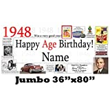 1948 70th Birthday Jumbo Personalized Banner by Partypro