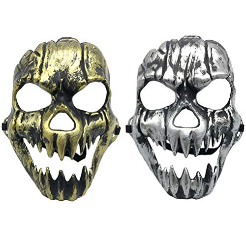 AMOSFUN Halloween Mask Scary Creepy Horrible Ghost Face Mask Cosplay Mask Costume Prop for Masquerade Cosplay Halloween Costume Party (Golden 2Pcs+ Silver 2Pcs)]()