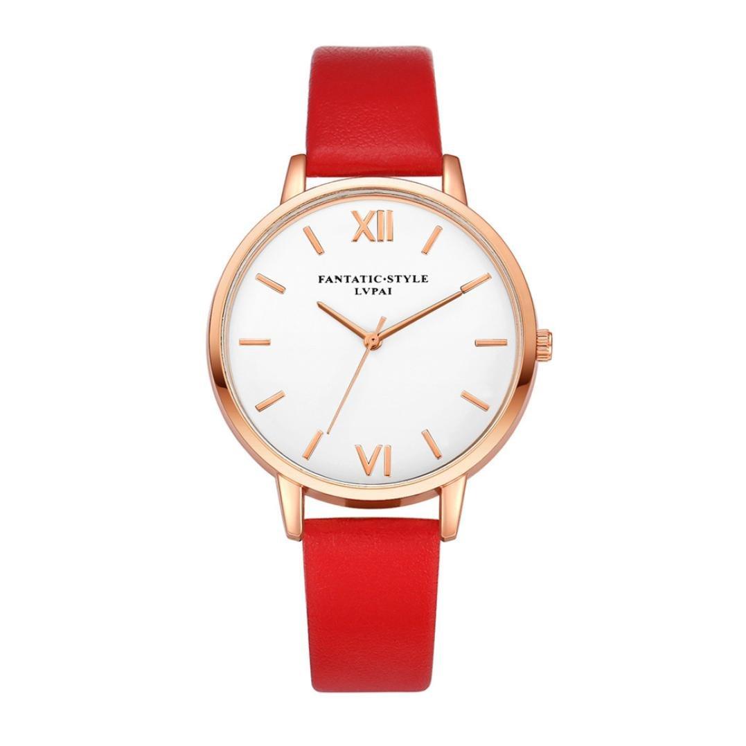 ホットセールWomens Watches、jushye新しいレディースメンズレザーステンレススチールWatch Sport Quartz Wrist Watch ( P )   B07797BBTM