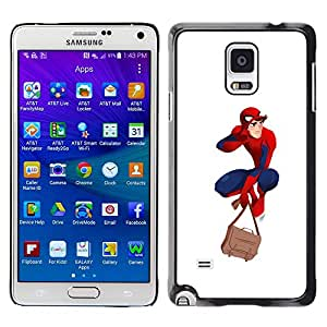 A-type Colorful Printed Hard Protective Back Case Cover Shell Skin for Samsung Galaxy Note 4 IV / SM-N910F / SM-N910K / SM-N910C / SM-N910W8 / SM-N910U / SM-N910G ( Superhero Costume Red Blue Mask Boy Man )