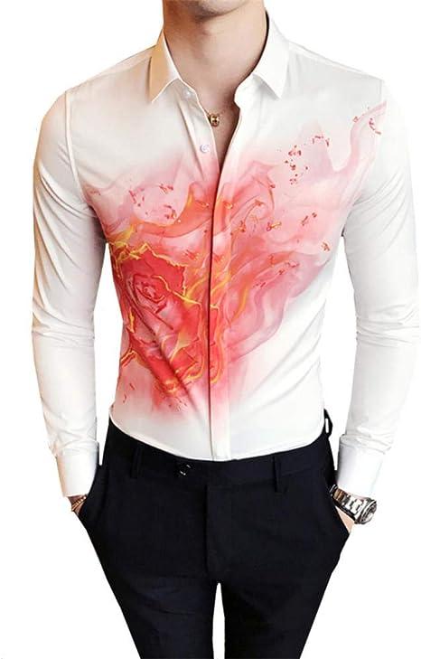 OBHDGVWN Camisa de Esmoquin Moda otoño Casual Slim Fit para Hombre Tops de Manga Larga Digital Print Club de Noche Camisas de Vestir Hombre Social: Amazon.es: Deportes y aire libre