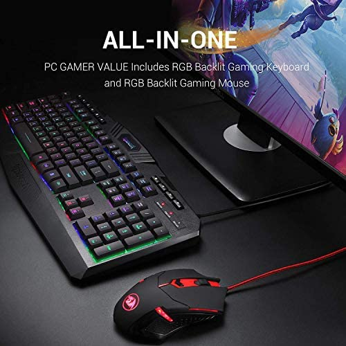 Redragon S101 Wired Gaming Keyboard and Mouse Combo RGB Backlit Gaming Keyboard with Multimedia Keys Wrist Rest and Red Backlit Gaming Mouse 3200 DPI for Windows PC Gamers (Black) 51b4ApcOG7L