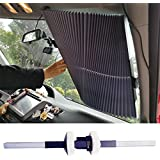 """Relanson Universal Fit Retractable Auto Windshield Sunshade Easy to Use Sun Shade(Standard/25.6""""x66.9"""")"""