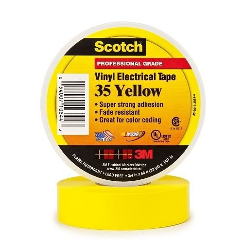 3M 10844-DL-5 3/4'' Yellow Scotch® Vinyl Electrical Tape No. 35