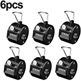 MROCO Pack of 6 Black Hand Tally Counter 4 Digit Tally Counter Mechanical Palm Click Counter Count Clicker Assorted Color Hand Held Counter Clicker for Sport Stadium Coach Casino and Other Event