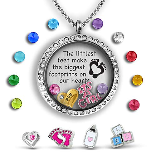 Baby Heart Locket (Baby Footprint Jewelry | Mom Necklace Charm Necklace For Presents For Mom | Best Baby Gifts Baby Keepsake Necklace | Mom Jewelry Unique Baby Gifts Filled With Baby Charms And Exclusive Message Locket)