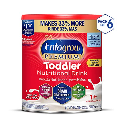 Enfagrow PREMIUM Next Step Toddler Milk Drink Powder, Natural Milk Flavor, 32 Ounce (Pack of 6), Omega 3 (Whole Milk Or Formula For 1 Year Old)