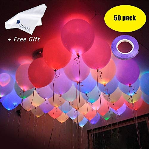 LED Light up Ballons for Party -Led Flash Ball Lamp Mixed Colors Balloon,Glow in The Dark Balloons for Party,Birthday,Wedding,Halloween,Home Decoration,Inflate with Air or Helium (50pack) ()