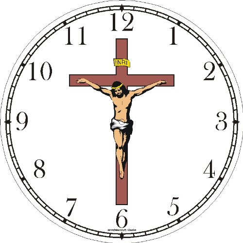 Jesus Christ on Cross or Crucifix Christian Theme Wall Clock by WatchBuddy Timepieces (Black Frame)