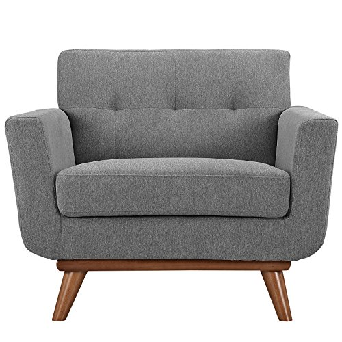 Modway Engage Mid-Century Modern Upholstered Fabric Accent Arm Lounge Chair in Expectation Gray (Online Armchair)