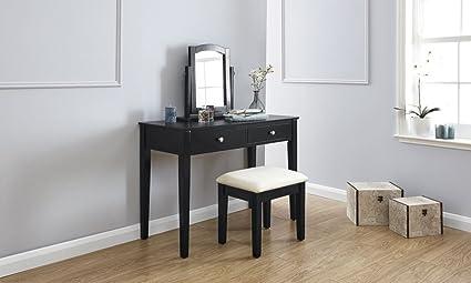 Value furniture hattie nero moderno set da toeletta con specchio