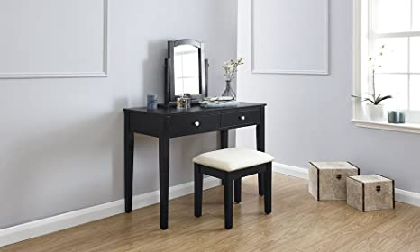 Value furniture hattie nero moderno set da toeletta con specchio