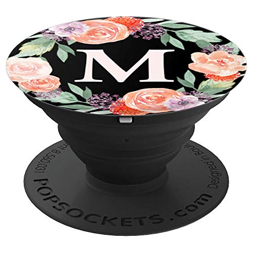 - Letter M Coral Rose Flower Monogram Floral Wreath Black Zx - PopSockets Grip and Stand for Phones and Tablets
