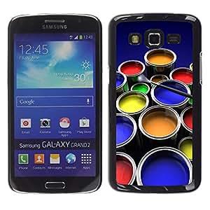 TopCaseStore / la caja del caucho duro de la cubierta de protección de la piel - Painting Kit Art Drawing Color Pots Design - Samsung Galaxy Grand 2 SM-G7102 SM-G7105
