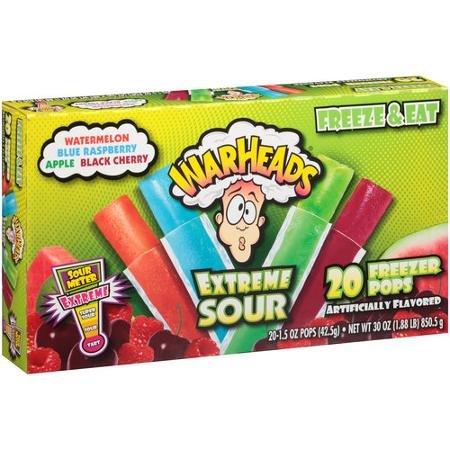 Warheads Extreme Sour Freezer Pops, 1.5 oz, 20 count ( ONE BOX )