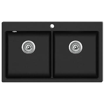 vidaXL Fregadero Encastrable con 2 Senos de Granito Negro Cubeta Lavaplatos
