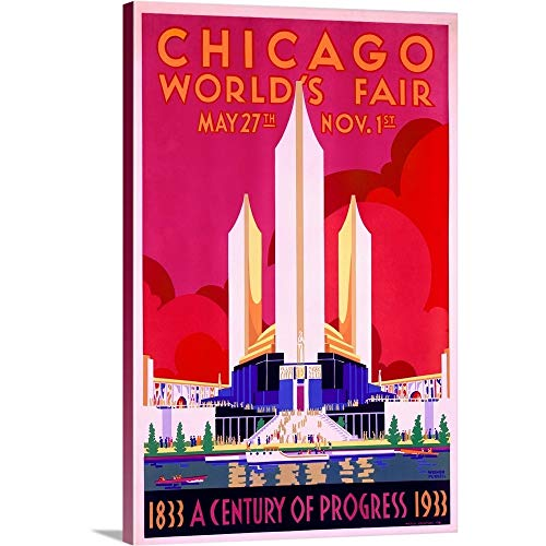 Worlds Fair, Chicago, 1933, Vintage Poster, by Weimer Pursell Canvas Wall Art Print, 24