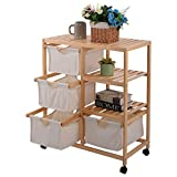 New MTN-G Wood Hamper 2 Section Storage Shelf Unit W/4 Fabric Drawers Home Furniture