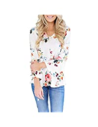Women Casual V Neck Flare Sleeve Floral Print Autumn Tunic Shirt Blouse Top