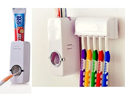 Dispensador automático de Pasta de Dientes con Soporte de Pared para cepillos de Dientes