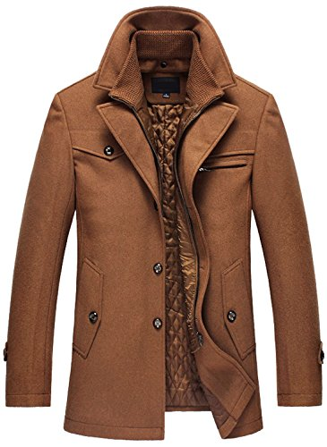 Chouyatou Men's Gentle Layered Collar Single Breasted Quilted Lined Wool Blend Pea Coats (Large, Brown) Collar Quilted Coat