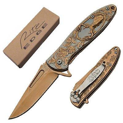 Deer Hunter Spring Assisted Knife - Rose Gold Folding Folder 6 7/8