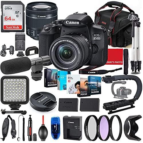 Canon EOS 850D (Rebel T8i) DSLR Camera with 18-55mm STM Lens Photo-Video Creator Bundle + Premium Bundle Including 64GB Memory, Microphone, LED Light, Stabilization Grip, Software Package, Bag & More