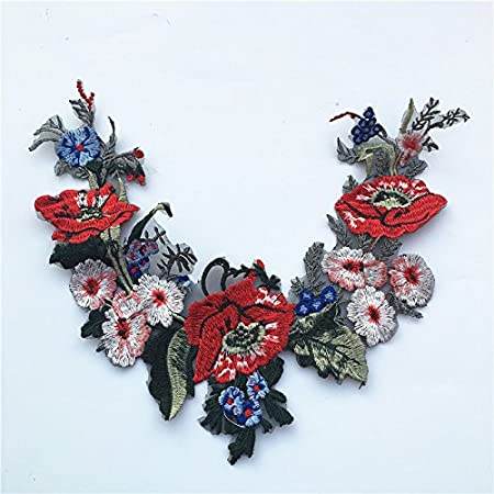 Red Flower Embroidered Lace Neckline DIY Collar Trim Clothes Sewing Applique Embroidery Edge for Sewing Supplies Crafts