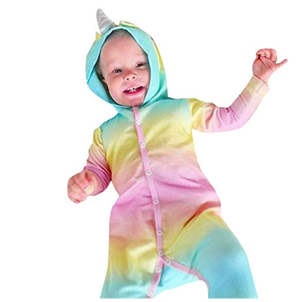 NUWFOR Infant Baby Boys Girls Long Sleeve Gradient Ramp Hooded Jumpsuit Romper Clothes(Multicolor,12-18Months