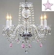 "Empress Crystal(TM) Chandelier Lighting w/ Pink Crystal Stars! H 17"" W17"" - Nursery, Kids, Girls Bedrooms, Kitchen, Etc!"