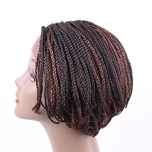 Jiayi Short Box Braided Lace Front Wigs Bob Style Full Braids with Natural Side Hand-tied Part Half Hand-made Braided Wigs for African American Women with Baby Hair for Daily Wear(6