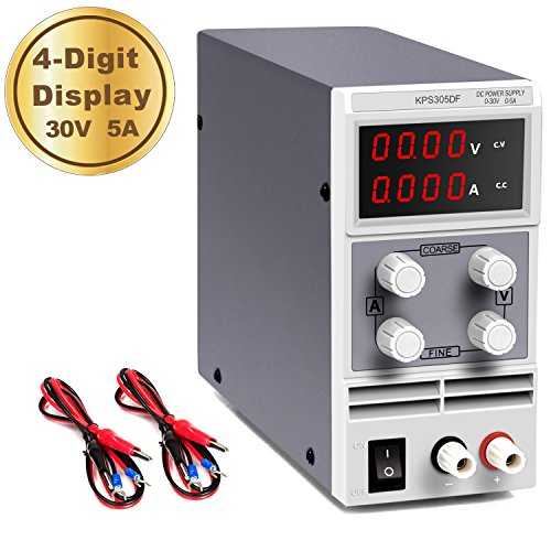 DC Power Supply Variable 30V 5A AKUNSZ 4 Digits LED Display [Upgraded Version] Precision Adjustable DC Bench Power Supply Regulated DC Power Supply with 2 Alligator Clip Leads