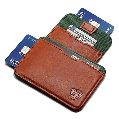 Card Blocr Pull Tab Minimalist Wallet Slim RFID Blocking   Best Front Pocket Wallet   Distressed Brown Leather & Green Nylon