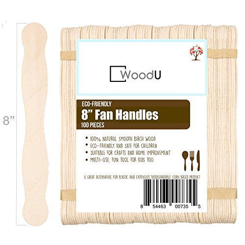 Natural Wavy Jumbo Wood Fan Handles Wedding Fan Craft Sticks - 8