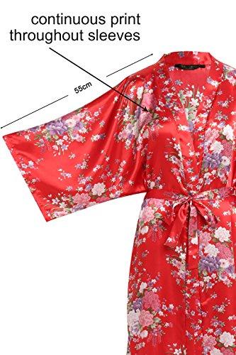 Kimono 135 Kimono Donna Rosso Floreale Raso cm Donna Donna Cintura Vestaglia Lungo Vestaglia Kimono con Pigiama BABEYOND pollici 53 Kimono ICqwPZw