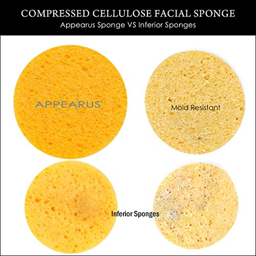 Appearus Compressed Natural Cellulose Facial Sponges, White, Made in USA (100 count/S1901W) by Appearus (Image #7)
