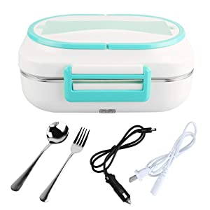 LOHOME Electric Heating Lunch Box -#Christmas Gifts# Car Home Office Use Food Warmer Portable Bento Meal Heater with Stainless Steel Container 110V and 12V Dual Use (Blue)