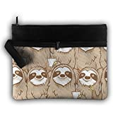 Bing4Bing Double-deck Sloth Funny Faces Slice Before Printing Jewelry Bag Cosmetic Bag Toiletries Bag