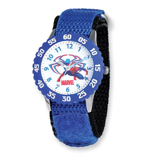 Marvel+Watches Products : Marvel Spiderman Blue Velcro Band Time Teacher Watch: Length 7 in