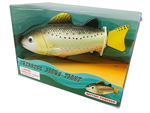 Brown trout realistic swimming fish water pool bath toy for Battery operated fish