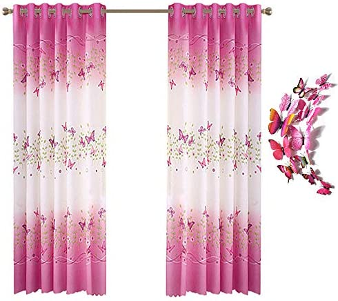 Curtains Butterfly Flowers Printed Butterflies