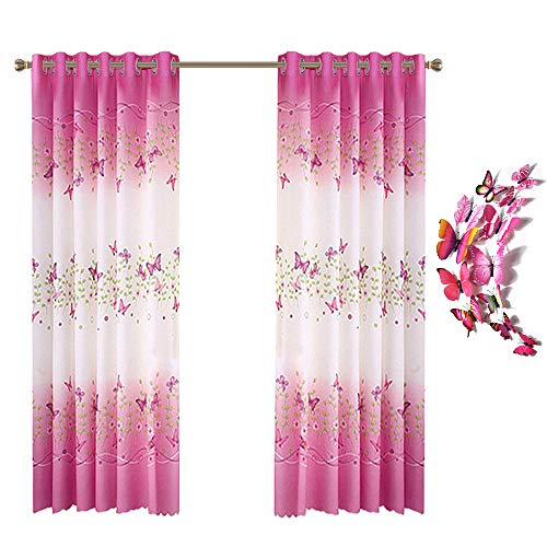 Lovehut Butterfly Flowers Printed Curtains for Girls Room,Semi-Blackout Window Curtain Panels with 3D Butterflies Grommet Window Drapes for Kids Girls Bedroom Living Room - 39 x 78 Inch, 2 Panels (Curtains Flower)