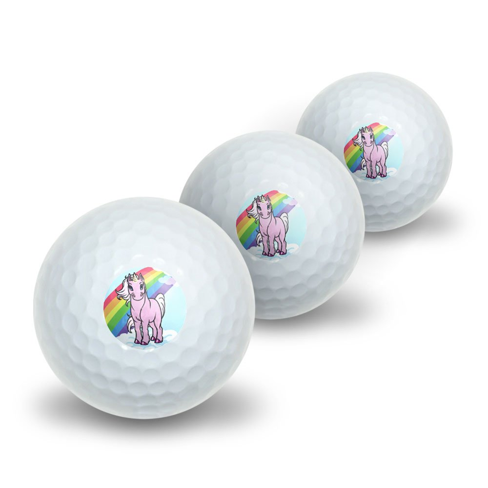 Pink Unicorn on Cloud - Rainbow Pony Novelty Golf Balls 3 Pack