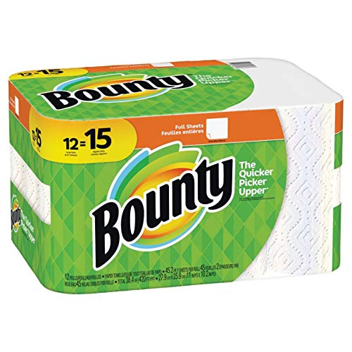Bounty 74697 Paper Towels, 2-Ply, White, 45 Sheets/Roll, 12 Rolls/Carton ()