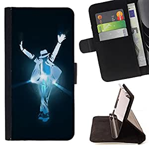 DEVIL CASE - FOR HTC One M8 - Disco Pop Music Step Dance Man Hat Art Lights - Style PU Leather Case Wallet Flip Stand Flap Closure Cover