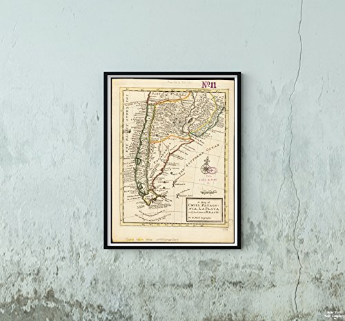 1732 Map Argentina|Patagonia|of Chili, Patagonia, La Plata and ye South Part of Brasil Relief sh|Historic Antique Vintage Reprint|Ready to Frame
