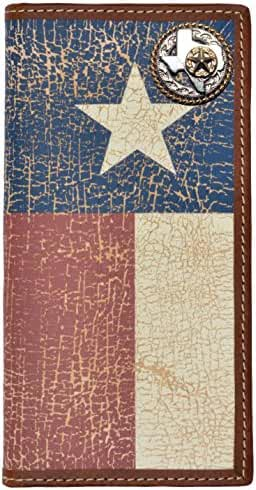 Custom Texas Rope and Star Long Wallet with Distressed Texas Lone Star Flag