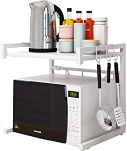 Buringer Microwave Oven Rack Shelf Stand with Hooks 2 Tier Expandable Adjustable Sturdy Carbon Steel Kitchen Toaster Countertop Storage Organizer Shelf (white)